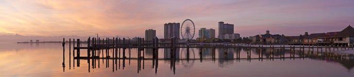 Panorama do nascer do sol da praia de Quietwater Foto de Stock