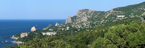 Panorama do pagamento de Simeiz em Crimeia Imagens de Stock