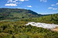 Panorama do parque geotérmica de Orakei Korako, da floresta e do rio de Waikato fotos de stock