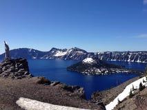 Panorama do parque nacional do lago crater em Oregon, EUA Imagem de Stock