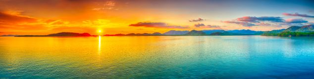 Panorama do por do sol Foto de Stock Royalty Free