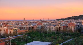 Panorama do por do sol de Barcelona Foto de Stock