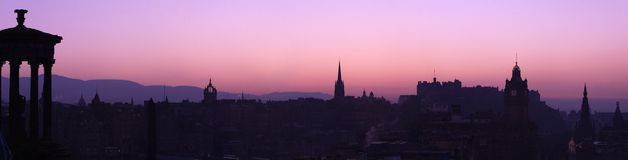 Panorama do por do sol de Edimburgo Fotografia de Stock Royalty Free