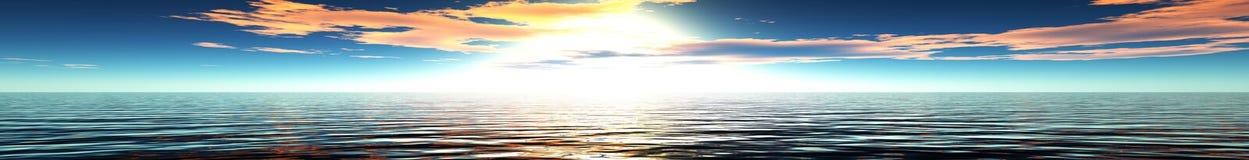 Panorama do por do sol do mar ilustração stock