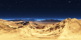Panorama do por do sol da paisagem do deserto, mapa do ambiente HDRI Projeção de Equirectangular, panorama esférico Fotos de Stock