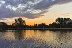 Panorama do por do sol de enfileirar o local de encontro na cidade de Plovdiv imagem de stock royalty free