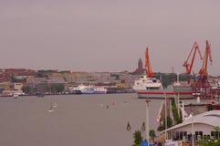Panorama do porto de Gothenburg na luz do dia Imagem de Stock