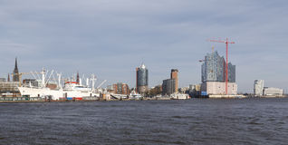 Panorama do porto de Hamburgo Imagem de Stock