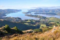 Panorama do porto de Lyttelton, Christchurch, Nova Zelândia Fotografia de Stock Royalty Free