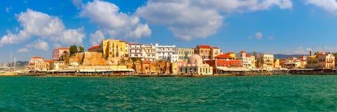 Panorama do porto velho, Chania, Creta, Grécia imagem de stock royalty free