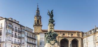Panorama do quadrado de Virgen em Vitoria-Gasteiz fotografia de stock