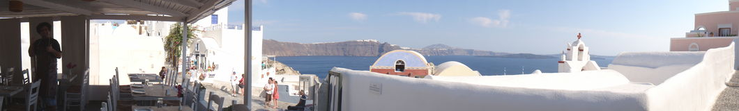 Panorama do restaurante, Oia, Santorini Imagem de Stock