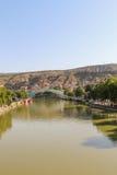 Panorama do Rio Kura de Tbilisi foto de stock