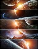 Panorama do sistema distante do planeta em elementos da rendição do espaço 3D ilustração do vetor