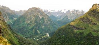 Panorama do vale de Arthur, trilha de Milford Imagem de Stock