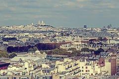 Panorama do vintage e vista aérea da torre Eiffel em Paris, Fra Imagem de Stock