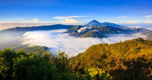 Panorama do vulcão no nascer do sol, East Java de Bromo, Indonésia Imagens de Stock