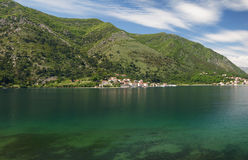 Panorama of Dobrota. Panorama of the Montenegrin village of Dobrota Royalty Free Stock Photo