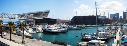 Panorama of Docked yachts lying in Port Forum Royalty Free Stock Photos