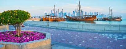Panorama of Doha harbor, Qatar Royalty Free Stock Photography
