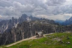 Panorama of Dolomites with chapel on foreground, Italy Royalty Free Stock Image