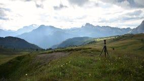 Panorama on the Dolomites stock photo