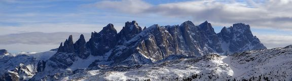 Panorama of Dolomites mountains in Italy. Panorama of beautiful Dolomites mountains in Italy in winter Stock Images
