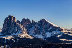 Panorama of the Dolomites. With snow-capped peaks and conifers Stock Photography