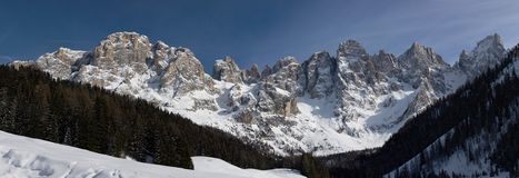 Panorama of Dolomiti - Pale di San Martino Stock Photo