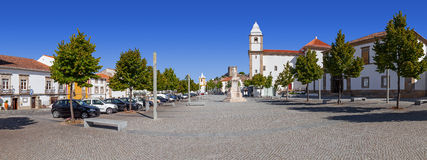 Panorama of Dom Pedro V Square in Castelo de Vide. Royalty Free Stock Photos