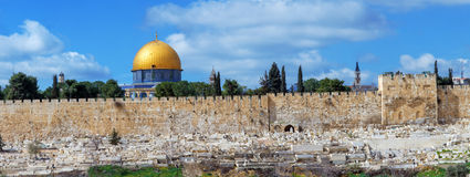 Panorama - Dome of the Rock and Jerusalem Wall Stock Photo