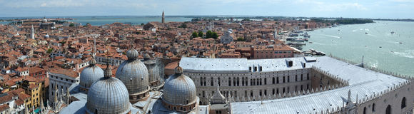 Panorama of the domes of the Cathedral of St. Mark and Ducal Palace. Stock Images