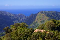 Panorama of Dominica, Caribbean. Panorama of rainforests in Dominica royalty free stock photo