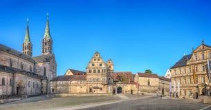 Panorama Domplatz kwadrat w Bamberg, Niemcy obraz stock