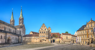 Panorama of Domplatz square in Bamberg, Germany. Bamberg, Germany. Panorama of Domplatz square with Bamberg Cathedral, Old court yard and State Library stock image
