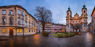 Panorama of Domplatz Square and Saint Jacob Cathedral , Innsbruck. Panorama of Domplatz Square and Saint Jacob Cathedral in the Morning, Innsbruck, Tirol royalty free stock photography