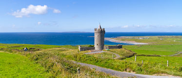 Panorama of Doonagore castle in Doolin Stock Photo