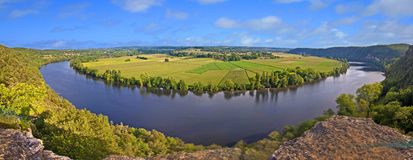 Panorama of the Dordogne river, France Royalty Free Stock Images