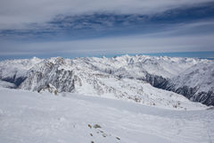 Panorama dos cumes em Solden, Áustria Foto de Stock
