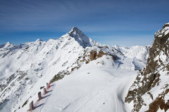 Panorama dos cumes em Solden, Áustria Fotografia de Stock Royalty Free