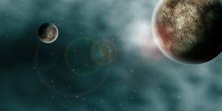 Panorama dos planetas do espaço Imagens de Stock Royalty Free