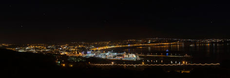 Panorama of Douglas Bay on Isle of Man at Night Royalty Free Stock Photos