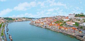 Panorama of Douro. The Douro River between Porto and Vila Nova de Gaia with row of Rabelo boats, moored along the banks, Portugal royalty free stock photos