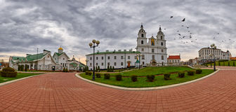 Panorama with Doves flying over Svyato-Duhov (Saint Spirit) Cathedral in Minsk, Capital of Belarus Royalty Free Stock Image