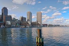 Panorama of downtown Boston from seaport stock photos