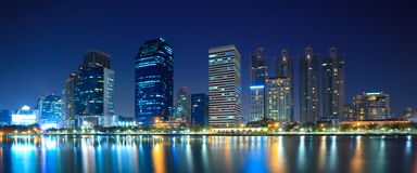 Panorama of downtown city at night,Bangkok Royalty Free Stock Image