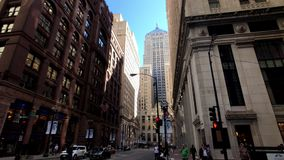 Panorama of downtown at day time, observing architecture, city life stock video footage