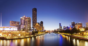 Panorama of downtown Melbourne at night. Produced by stitching several images together royalty free stock photos