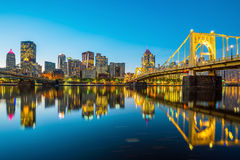 Panorama of downtown Pittsburgh at twilight. Panorama of downtown Pittsburgh skyline at twilight Stock Photo