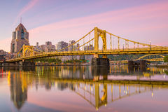 Panorama of downtown Pittsburgh at twilight Royalty Free Stock Images